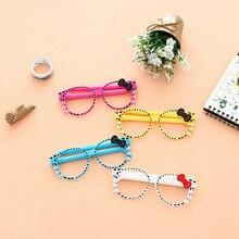 f53586ba87 Kawaii Korea Stationery Lovely Cartoon Glasses Ballpoint Pen Foldable Cute  Bow Tie Cat Eyes Dots School