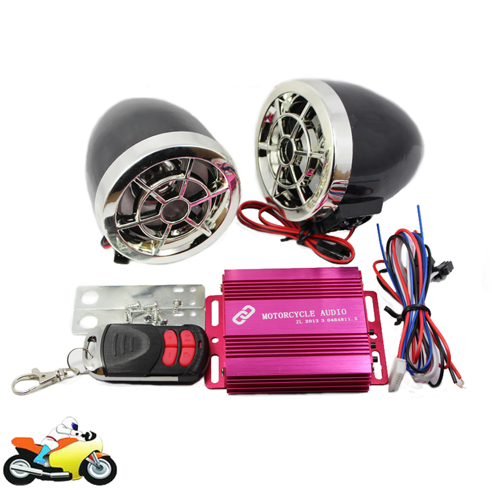 Motorcycle Bluetooth Audio Sound System Stereo Speakers FM Radio MP3 Music Player Scooter ATV Remote Control Alarm Speaker motorcycle mutilmedia mp3 music player speakers audio fm radio security alarm wireless bluetooth remote with usb tf card slot