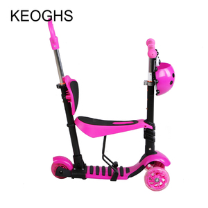 Image 5 - Children baby scooter kids 5in1 PU 3wheels Flashing Swing Car Lifting 2 15 Years Old Stroller Ride Bike Vehicle Outdoor Toys