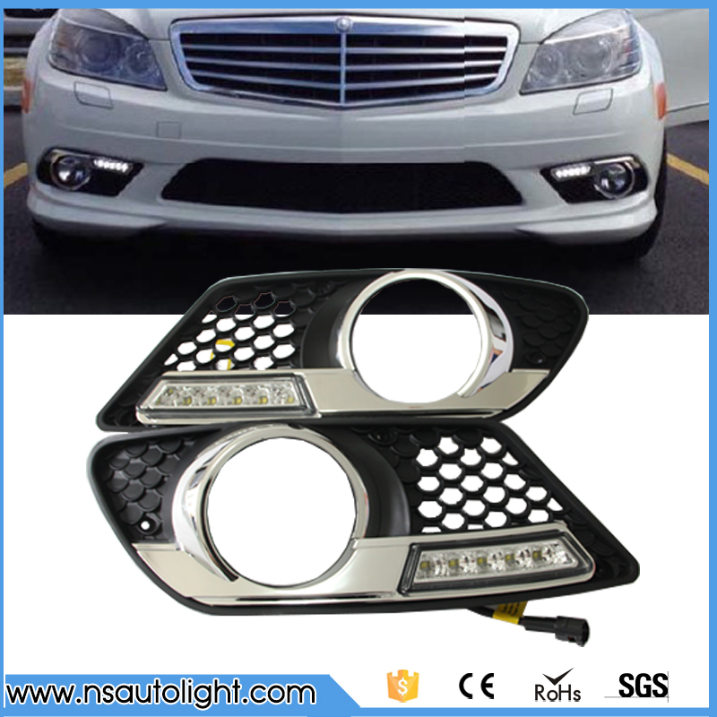 LED DRL light for Benz W204 AMG (08-11 led daytime running light dimmable led driving lamp fog light  free shipping yandex w205 amg style carbon fiber rear spoiler for benz w205 c200 c250 c300 c350 4door 2015 2016 2017