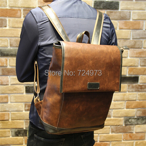 PU crazy horse leather unisex motorcycle backpack men women bagpack tactical mochila laptop travel bags satchel - Lotus Warehouse store