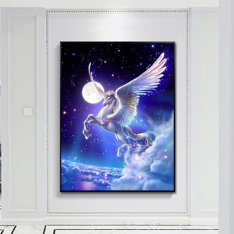 5D DIY Horse Diamond Painting Full Drill European Numbers Round Crystal Rhinestone Mosaci Cross-Stitch Picture Home Decor Craft