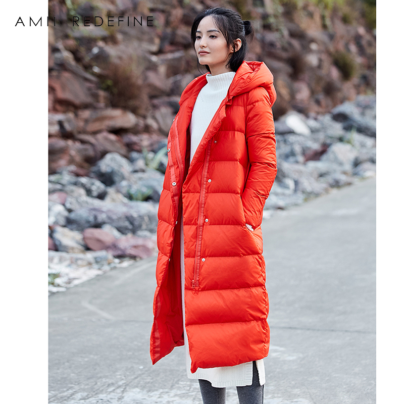 Amii Redéfinir Designer Marque Long Manteau Femmes D'hiver 2018 Chaud Solide Clair À Capuche Épais Blanc Duvet de Canard Femmes Veste manteau