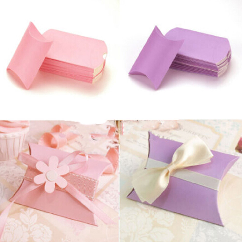 50pcs Colorful Paperboard PVC Pillow Shape Candy Box for Wedding ...