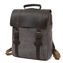 Retro Mens Canvas Shoulder Bag Casual Large Capacity Travel Computer Backpack