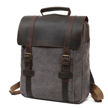 Retro Mens Canvas Shoulder Bag Casual Large Capacity Travel Computer Backpack