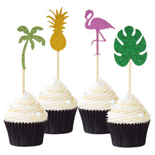 12Pcs Cute Flamingo Pineapple and Coconut Tree Hawaii Summer Party Cupcake Decoration Wedding Birthday Cake Topper Free Shipping