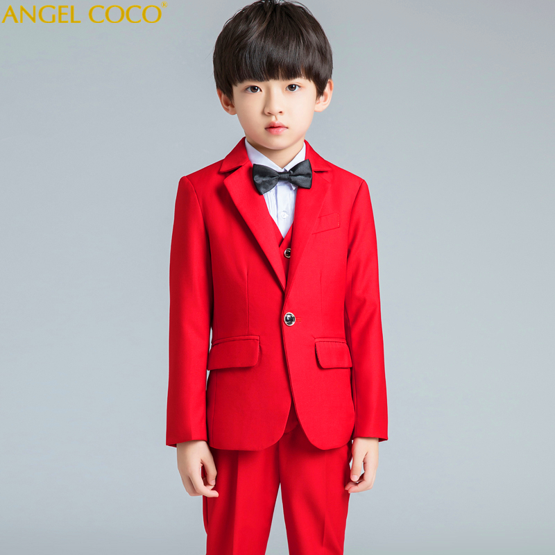 Boutique Host Show Catwalk Show Fashion Red Boy Suit Handsome Toddler Flower Boys Wedding Show/Performance Formal Suit Sets 2018 футболка lin show 367