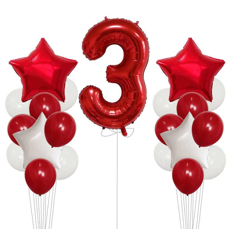 21 pièces bébé douche 1st fête d'anniversaire fournitures décor 40 pouces rouge noir numéro 1 feuille ballon garçon fille balles 2.3g Latex Air Globos