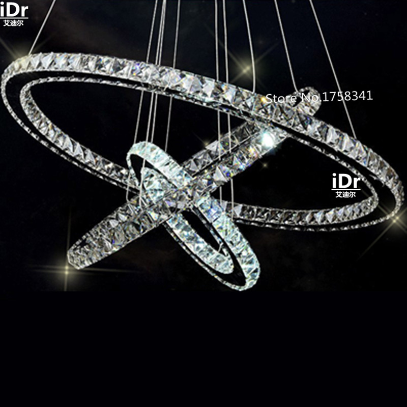 Rvs 3 Cirkels 65 W LED K9 Kristallen Kroonluchter Hot koop Diamond Ring Moderne Hanglamp hoogwaardige licht