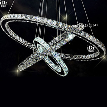 Stainless steel 3 Circles 65W LED K9 Crystal Chandelier Hot sale Diamond Ring Modern Pendant Lamp High-grade light hot sale diamond ring led crystal chandelier light modern lamp circle lights fashion style luxury glass bedroom chandeliers
