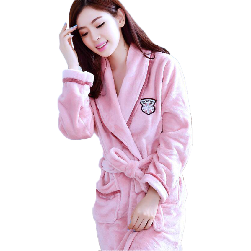 Fall Winter Coral Fleece Couple Pajamas Women's Men's Warm Bathrobe Thick Flannel Bain Robe Female Kimono Dressing Gown Homewear