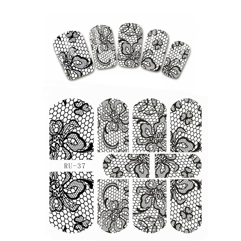 UPRETTEGO NAIL ART BEAUTY WATER DECAL SLIDER NAIL STICKER BLACK LACE FLOWER ANCHOR HUSKY STAR RU037-042 4 packs lot full cover white french smile lace tattoos sticker water decal nail art d363 366w
