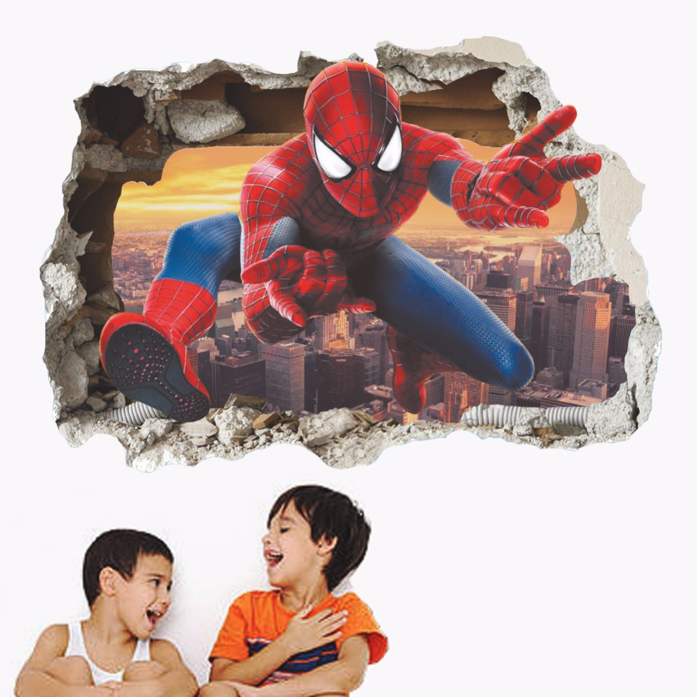 % 3d effect hero spiderman through wall stickers for kids room wall art decor cartoon pvc broken wall decals diy posters gifts