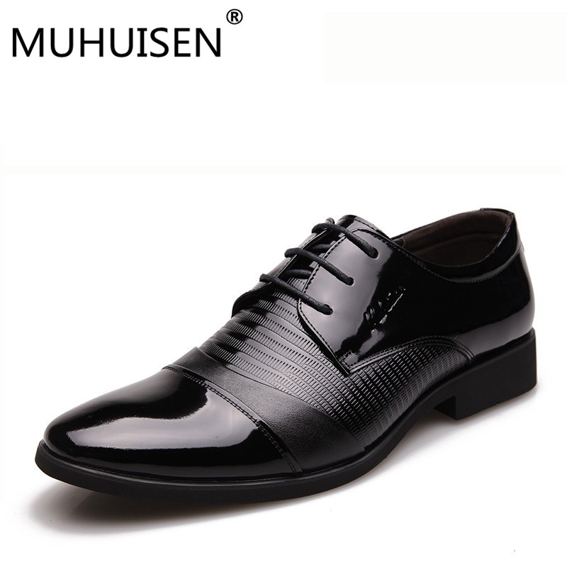 MUHUISEN ew Luxury Men Dress Formal Shoes Fashion Genuine Leather Lace Up Flats Oxford Shoes Male Casual Business Wedding Shoes pjcmg new fashion luxury comfortable handmade genuine leather lace up pointed toe oxford business casual dress men oxford shoes