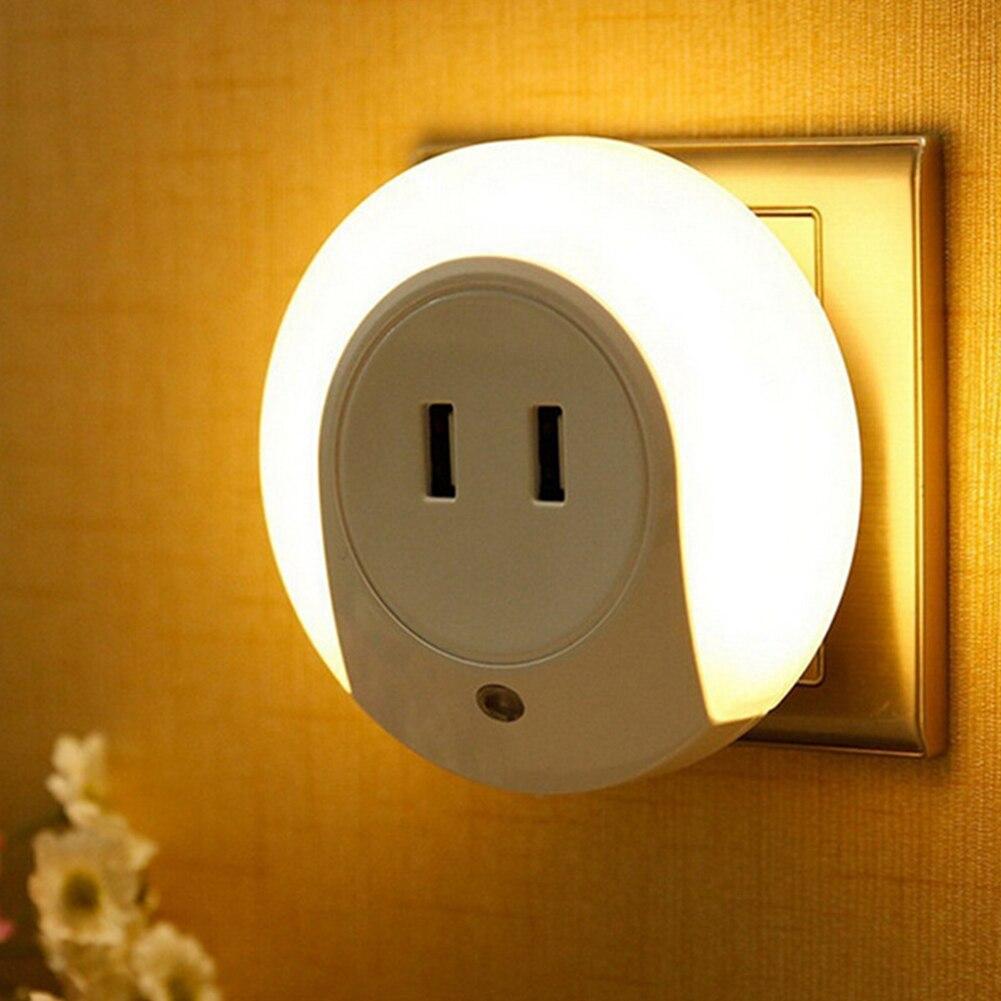 Smart Design 7 LED Night Light With Light Sensor Dual USB Wall Plate  Charger For Bathrooms Bedrooms 220V/5V EU/US Plug