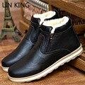 LIN REY Fashion Top del Alto de Los Hombres Zapatos Casuales Estilo Británico Caliente felpa Botas de Nieve de Invierno Zip Punta Redonda Pisos Impermeables Martin Boot