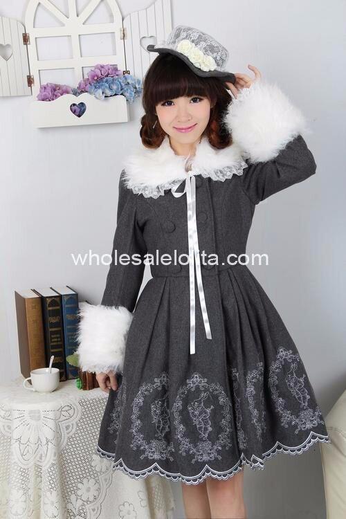Шерстяное милое пальто в стиле Лолита с длинными рукавами и вышивкой кролика Алисы пальто в готическом Стиле Лолита 4XL 5XL 6 XLCoat