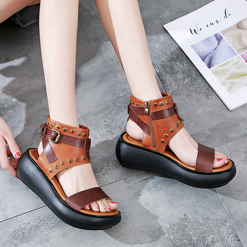 Women Leather Sandals Wedge Summer Shoes Women 6 Cm High Heels Gladiator Sandals Women Handmade Genuine