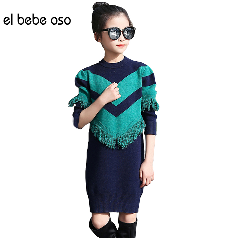 el bebe oso Sweet Baby Girl Sweater Tassel Design O-Neck Kid Knitwear Spring Autumn Princess Style Children Clothes Top XL563