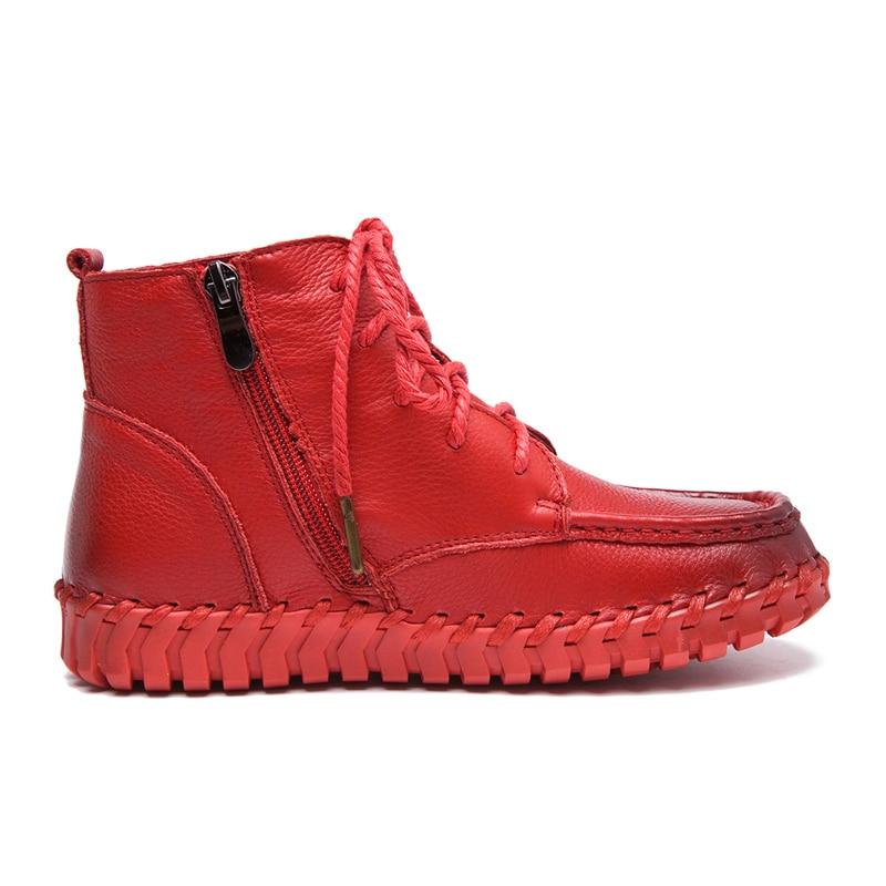 MVVJKE nowy projekt buty do kostki ze skóry naturalnej dla kobiet w stylu Vintage buty w stylu casual ręcznie skóry wołowej miękkie płaskie krótkie buty kobiet w Buty do kostki od Buty na  Grupa 3