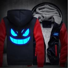 Usa größe männer frauen pokemon gengar leucht reißverschluss jacke sweatshirts verdicken hoodie mantel clothing casual