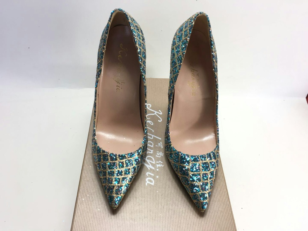 Image 2 - Keshangjia  Hot Sale Thin High Heels Woman Sexy Pointed Toe Pumps  Green Crystal Rhinestone Lady Party Dress Shoes PumpsWomens Pumps