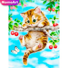MomoArt 5D Diamond Painting Cat Full Drill Embridery Square Rhinestone Mosaic Animal Home Decoration