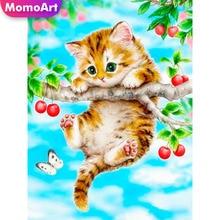 MomoArt 5D Diamond Painting Cat Full Drill Embridery Square Rhinestone Mosaic Animal Home Decoration