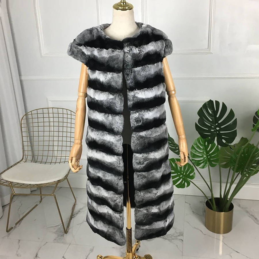 High Quality 100% Genuine Rex Rabbit Fur Chinchilla Color Winter Vest X-long New Style   Natural Fur Wast Fashion Warm 2018