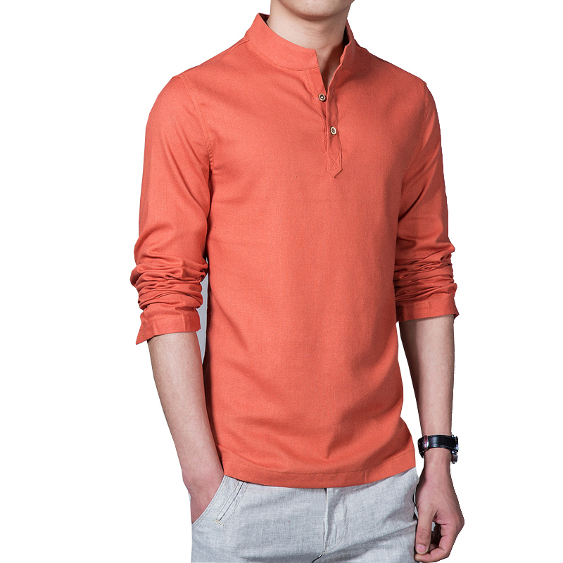 Linen long sleeve casual mens shirts