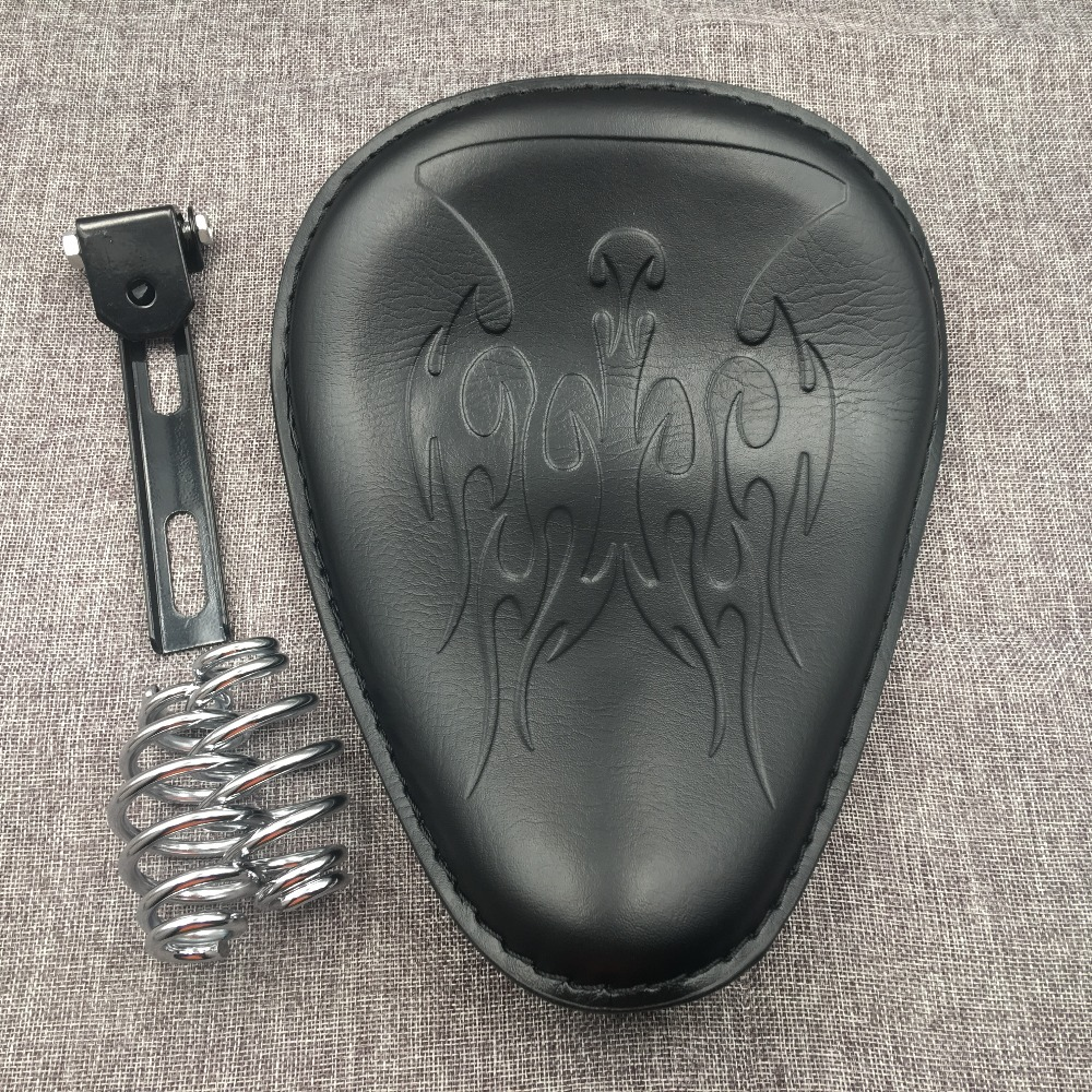 Black Motorcycle Leather Solo Seat Cover 3