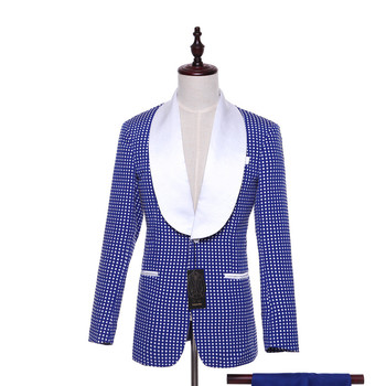 Men's Casual Jacket Pioneer Two Buttons Royal Blue White Dot Pattern Slim Wedding Tuxedo Business Prom Ball Custom