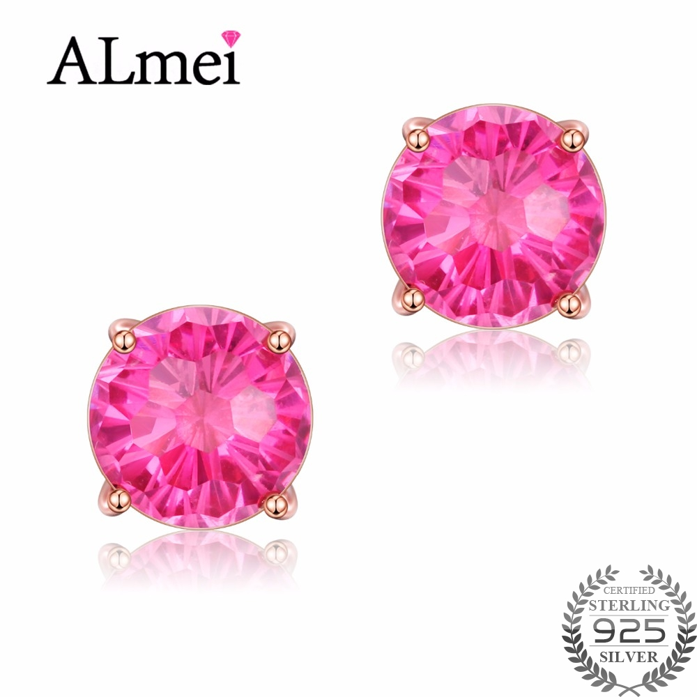 Almei 925 Sterling Silver 6ct Red Topaz Stud Earrings Natural Zircon Women Wedding Gemstone Earring Jewelry