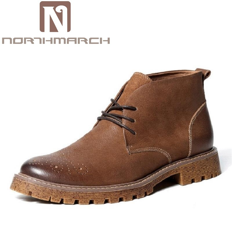 NORTHMARCH Men Boots Genuine Leather Quality Brand Winter Shoes Autumn Non-Slip Ankle Boots Retro Martin Boots tenis masculino mycolen luxury famous men winter boots quality genuine leather boots men business slip on shoes men ankle boots tenis masculino