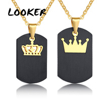 LOOKER Black Dog Tag Necklace for Women Man Gold Tone Stainless Steel Queen King Crown Charm Pendants Promise Love Gifts