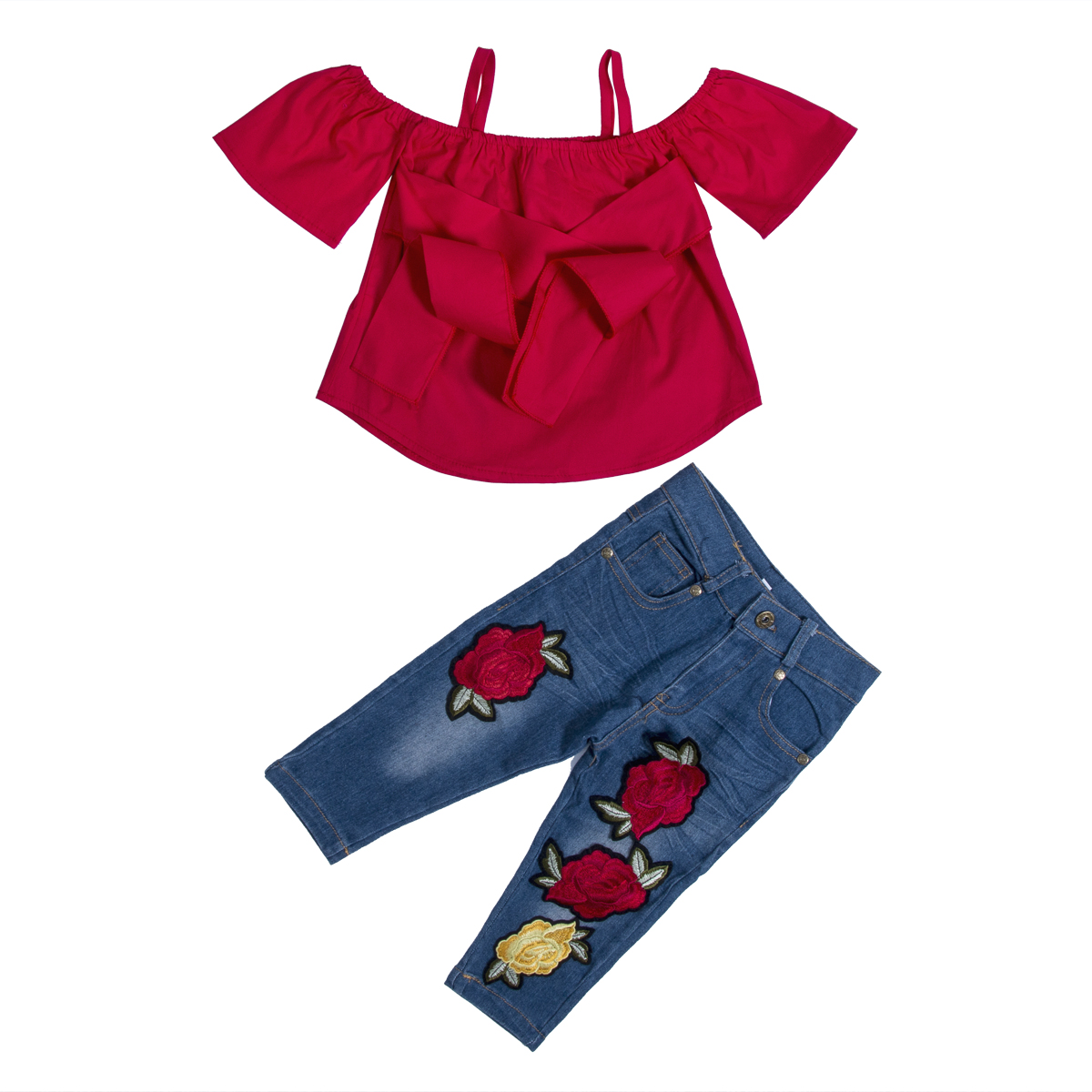 2pcs Kids Baby Girls Fashion Outfits Long Sleeve Floral Tops+Denim Pants Clothes