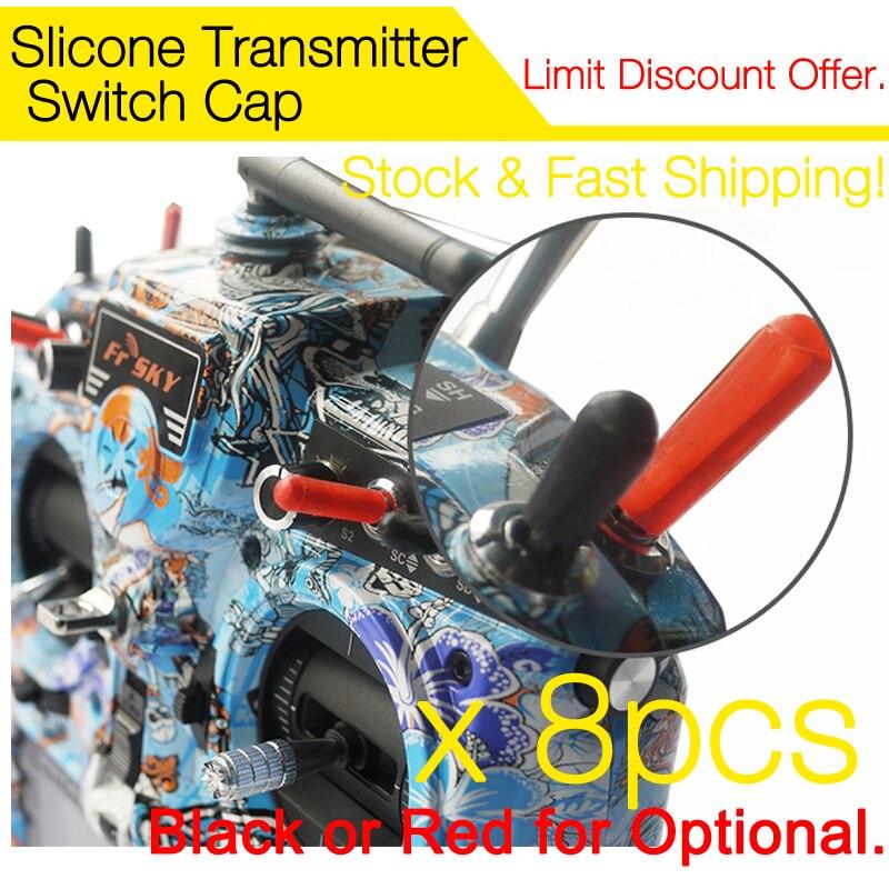 8 pcs Silicone Transmitter Anti-slipping Stick Switch Cap Sheath for FrSky Taranis, QX7, Horus, Futaba JR free shipping transmitter throttle stick upgrade m3 size f jr futaba dx6i dx8 red