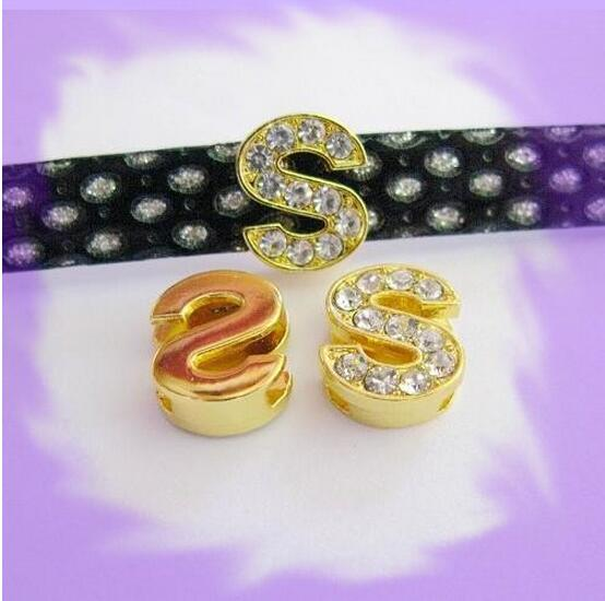 50pcs 8mm zinc alloy and full rhinestone *S* Slide letters Wear letters Fit Wristbands and Pet Collar DIY Accessories