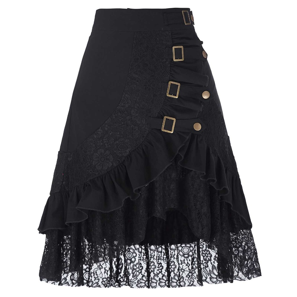 New Design Midi Skirt 2017 Sexy Black Lace Skirts Womens