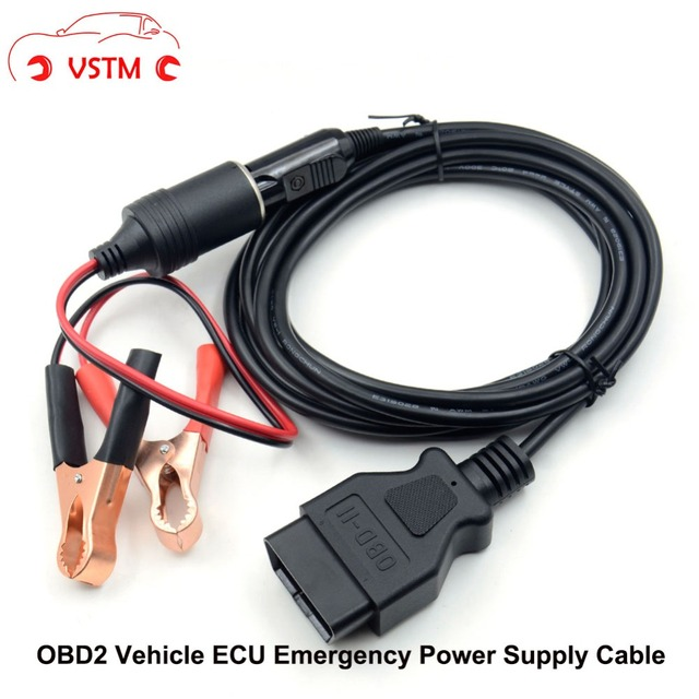 US $15 99  VSTM OBD II 12V DC Power ECU Emergency Power Source Supply Cable  Memory Interface Connector with Alligator Clip for Vehicle-in Car