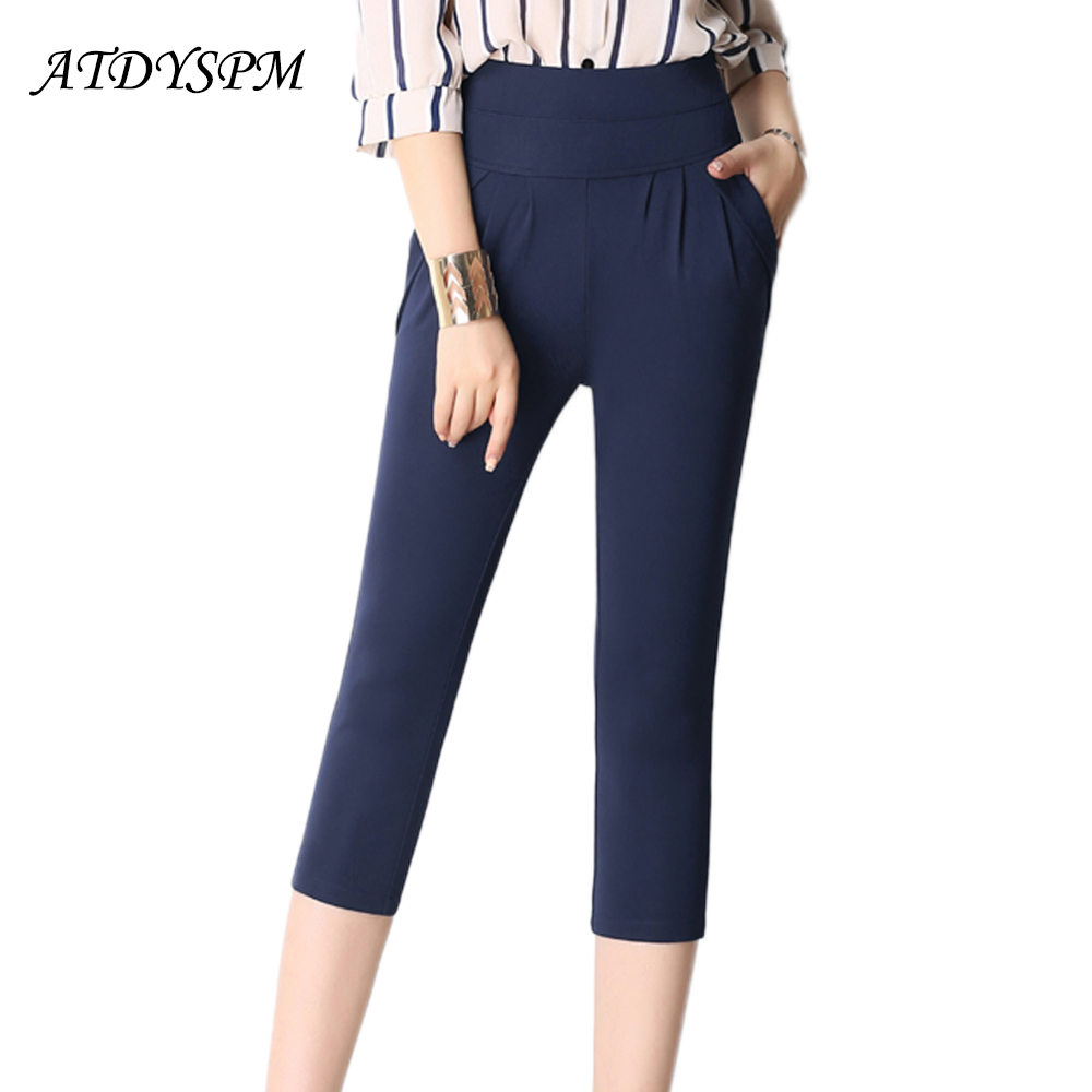 2018 New Fashion Women's Harem   Pants     Capris   Female Elegant Stretch Loose High Waist   Pants   Plus Size 5XL 6XL Summer Casual   Pants
