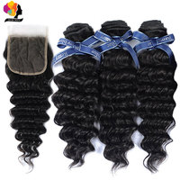 100% Remy Peruvian Hair Bundles With Closure Deep Wave Human Hair Remyblue 3 Bundles With Closure Natural Color For Black Woman