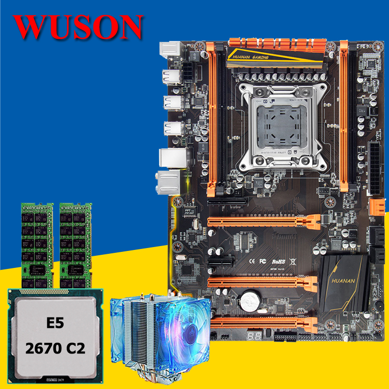 New arrival HUANAN deluxe X79 motherboard CPU RAM set build PC CPU Xeon E5 2670 C2 with cooler RAM 16G(2*8G) DDR3 RECC tested new arrival huanan x79 deluxe motherboard cpu ram set x79 lga2011 motherboard intel xeon e5 2660 c2 ram 16g 2 8g ddr3 recc