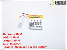 5pcs 3.7V 160mAh 302323 Lithium Polymer Li-Po li ion Rechargeable Battery cells For Mp3 MP4 MP5 GPS PSP mobile bluetooth