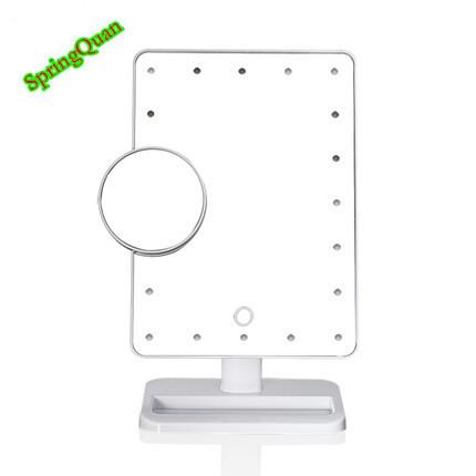 25*18 CM Led adsorción pequeño Espejo de Maquillaje Espejo de aumento 10X Soporte De Mesa Espejo de alta definición rectangle Touch dimmer baño