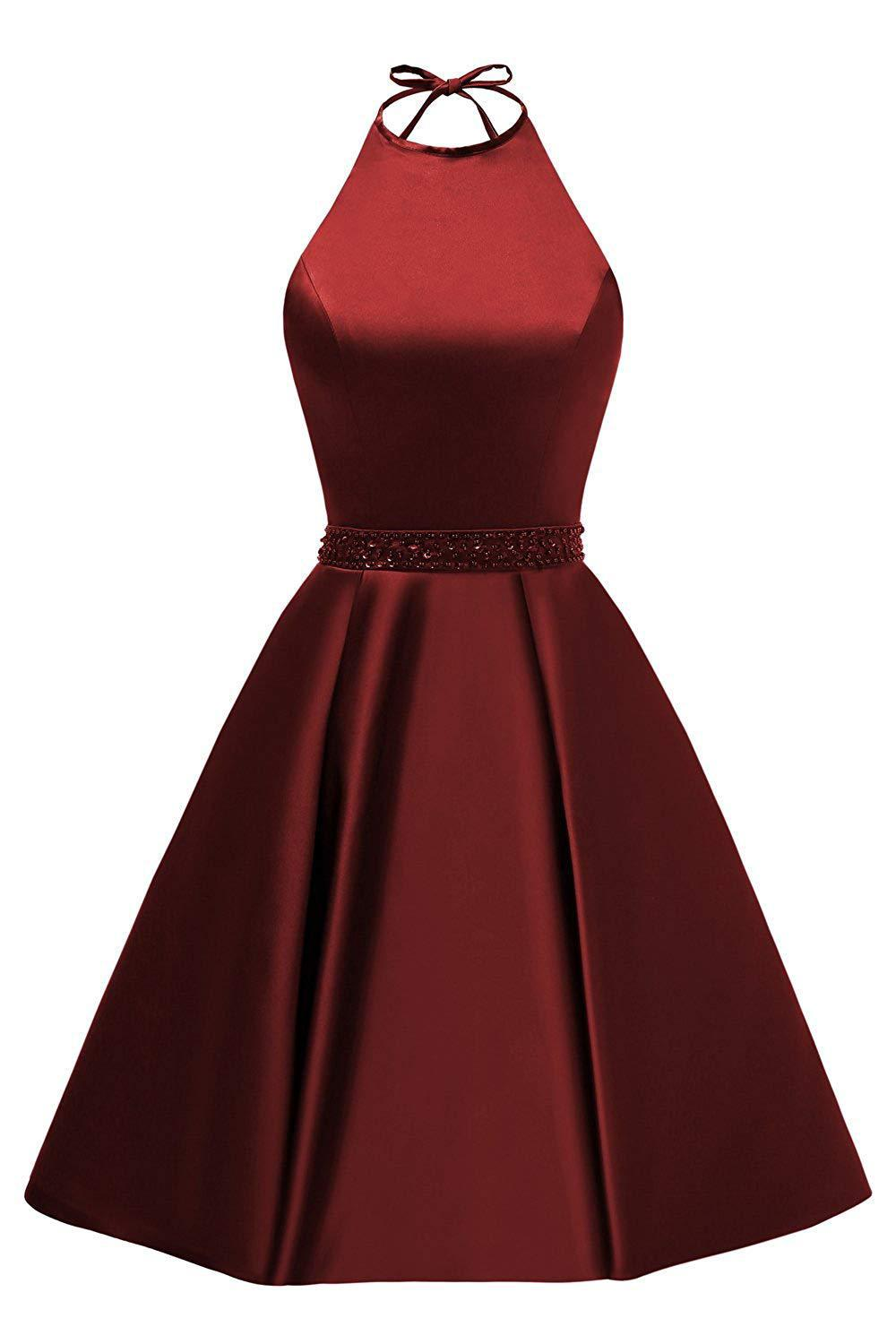 Sexy Burgundy Cocktail Dress Satin A Line Short Homecoming Dress 2019 Mini Graduation Party Dresses Cheap Robe De Cocktail