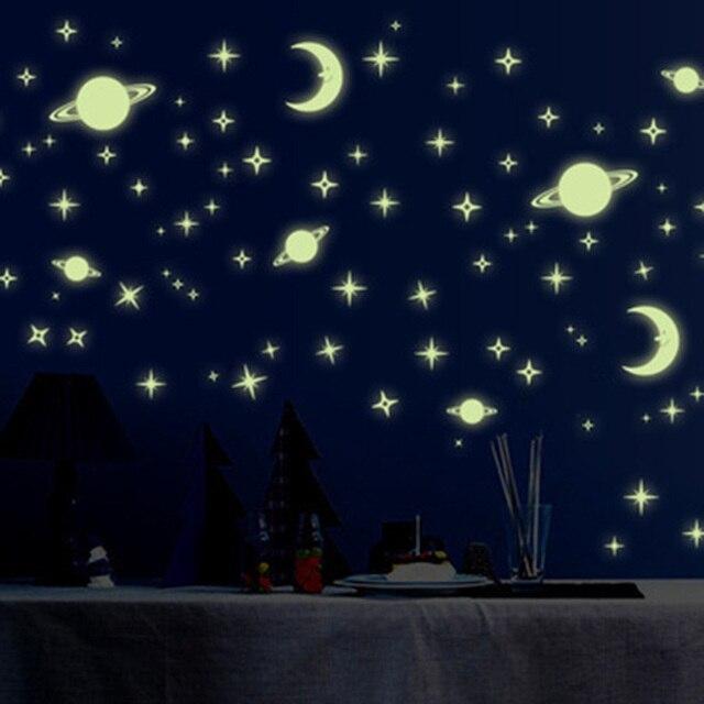 5c5a983a4 Estrelas da lua Luminosa Fluorescente de Plástico Adesivo de Parede para  Quarto de Crianças Decoração Brilham