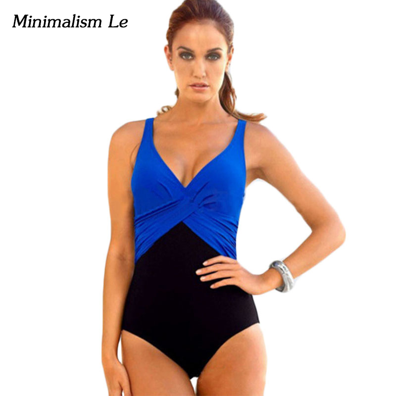 Minimalism Le One Piece Swimsuit 2017 Push Up Women Swimwear Sexy Solid Patchwork  Biquini Plus Size Bathing Suits BK479 4XL one piece swimsuit cheap sexy bathing suits may beach girls plus size swimwear 2017 new korean shiny lace halter badpakken