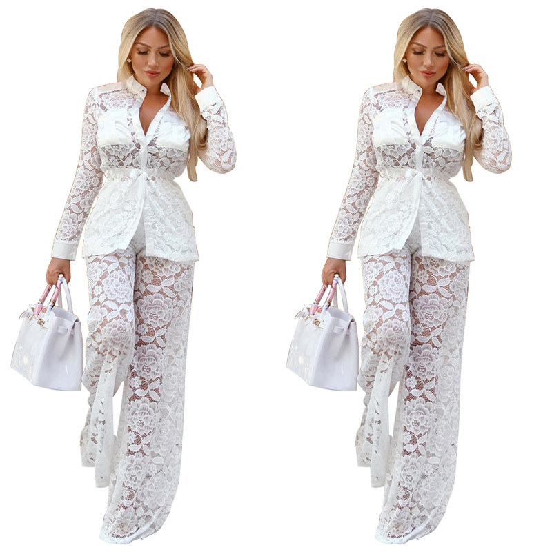 2018 Autumn Sexy Lace Office Lady Long Sleeve White Blouse and Wide leg Pants Women 2 Sets Piece
